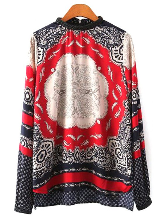 fashion Print Lace Splicing Zipper Back Blouse - RED S