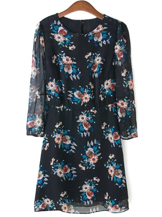 affordable Floral Print Chiffon Shift Dress - BLACK S