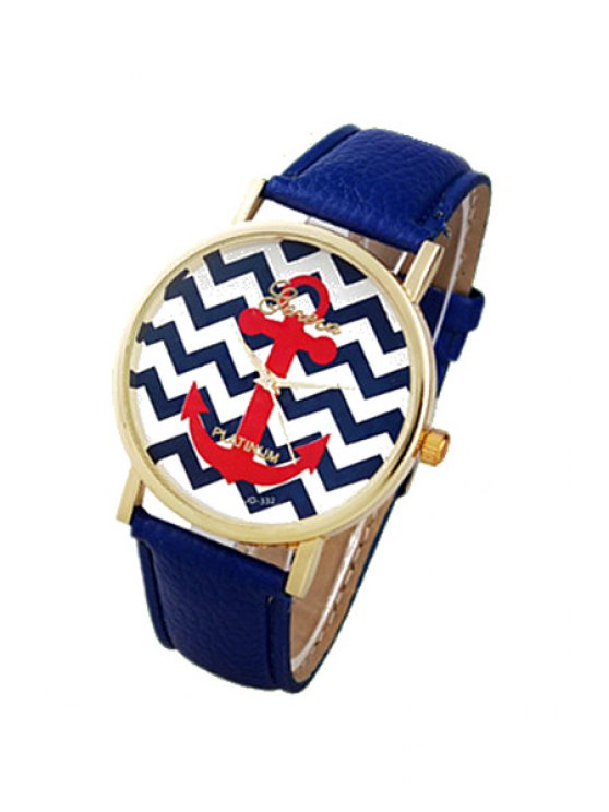 lady Wave Pattern Anchor Design Watch - BLUE