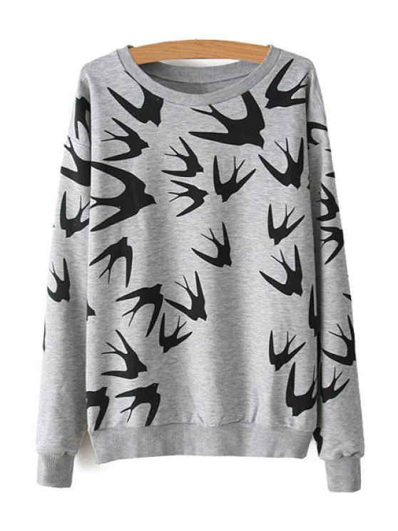 shop Swallow Print Long Sleeve Sweatshirt - GRAY ONE SIZE(FIT SIZE XS TO M)