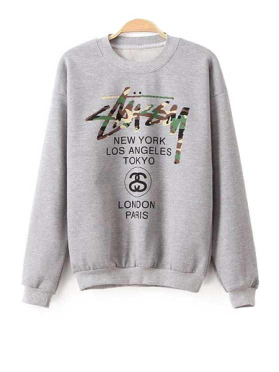 fashion Camouflage Letter Long Sleeve Sweatshirt - GRAY S