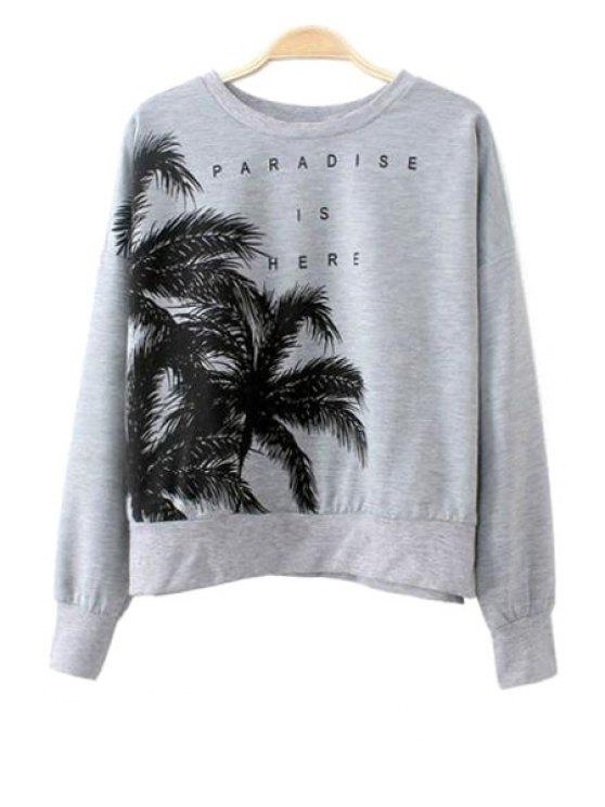 affordable Coconut Tree Print Long Sleeve Sweatshirt - GRAY S