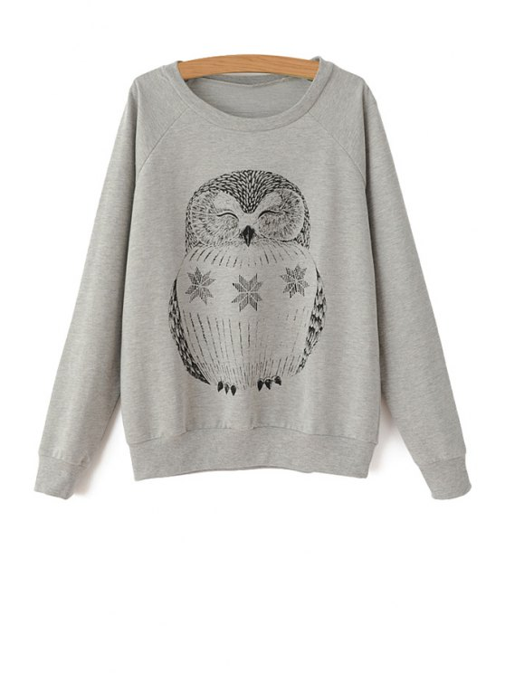 ladies Long Sleeve Owl Pattern Sweatshirt - GRAY ONE SIZE(FIT SIZE XS TO M)