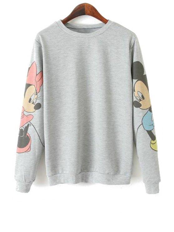 new Character Print Long Sleeve Sweatshirt - GRAY S