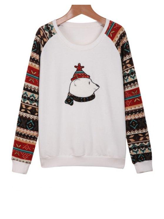 fancy Bear Embroidery Ethnic Splicing Sweatshirt - WHITE S