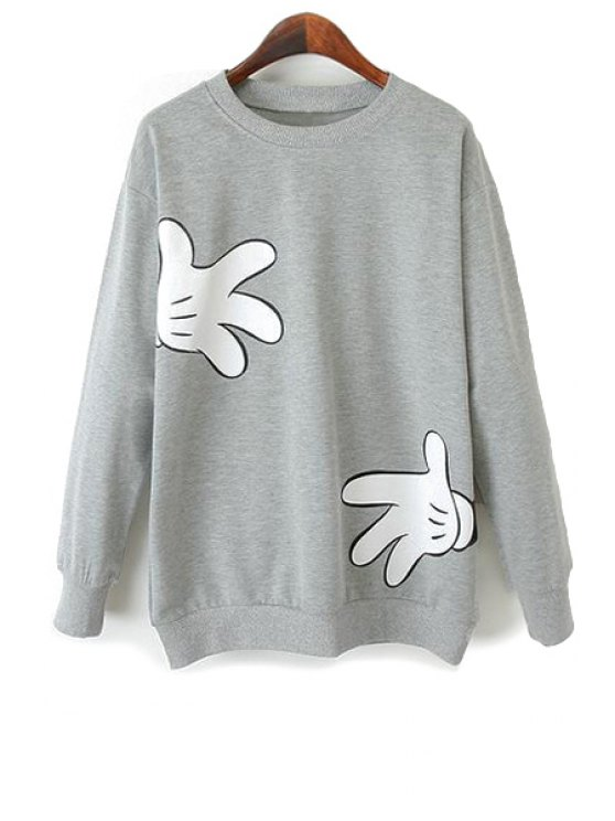 trendy Cartoon Hand Print Long Sleeve Sweatshirt - LIGHT GRAY S