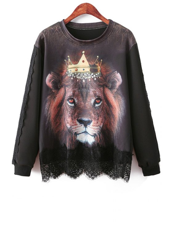 best Lion Print Lace Splicing Sweatshirt - BLACK ONE SIZE(FIT SIZE XS TO M)