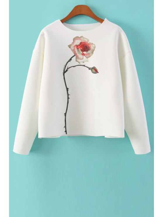 fashion Jewel Neck Floral Print Sweatshirt - WHITE S