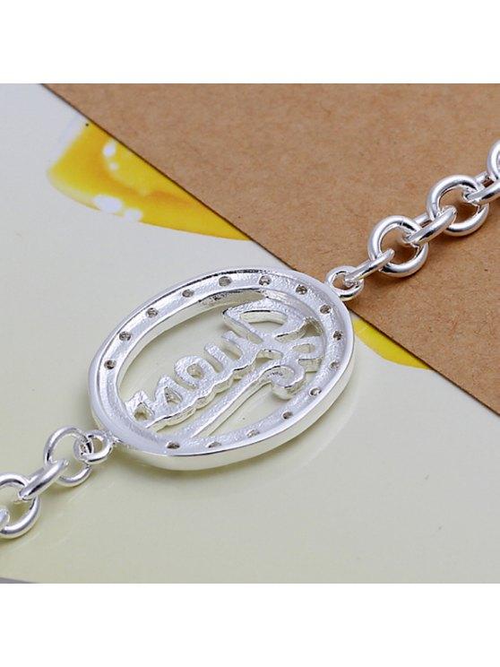 buy Trendy Decorated Oval Pendant Charm Bracelet For Women - 19CM*0.5CM