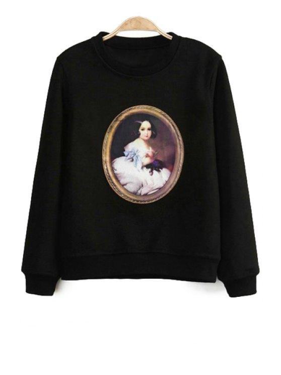 shops Figure Print Long Sleeve Sweatshirt - BLACK S