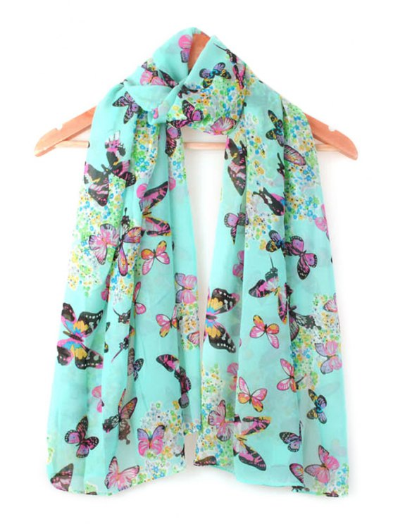 online Butterfly Print Scarf - BLUE