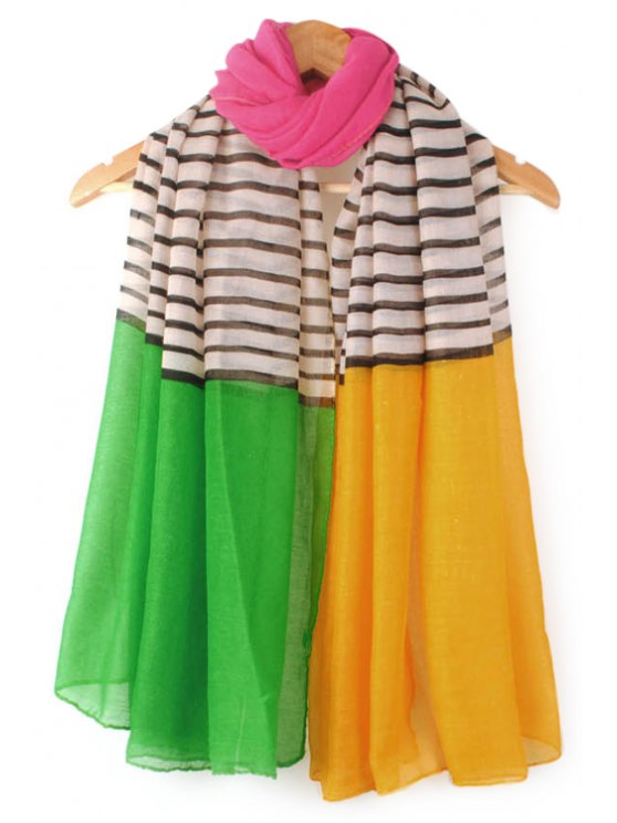 chic Color Block Stripe Scarf - COLOR ASSORTED