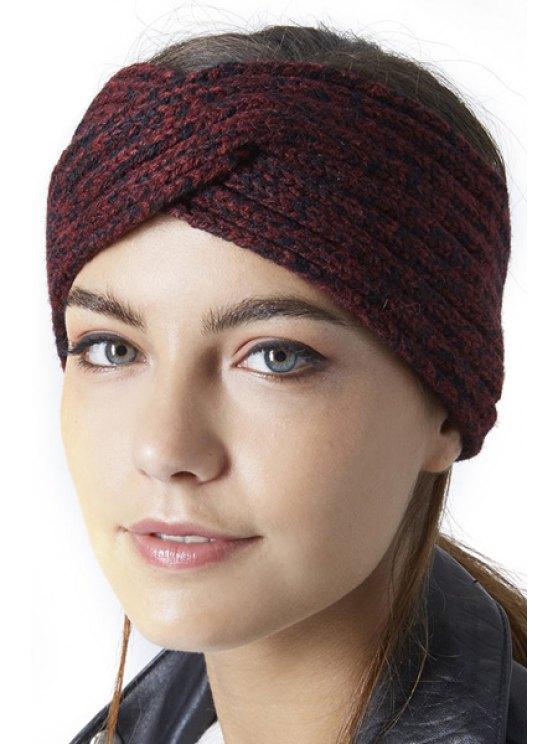 women's Criss Cross Knitted Headband - PURPLISH RED S
