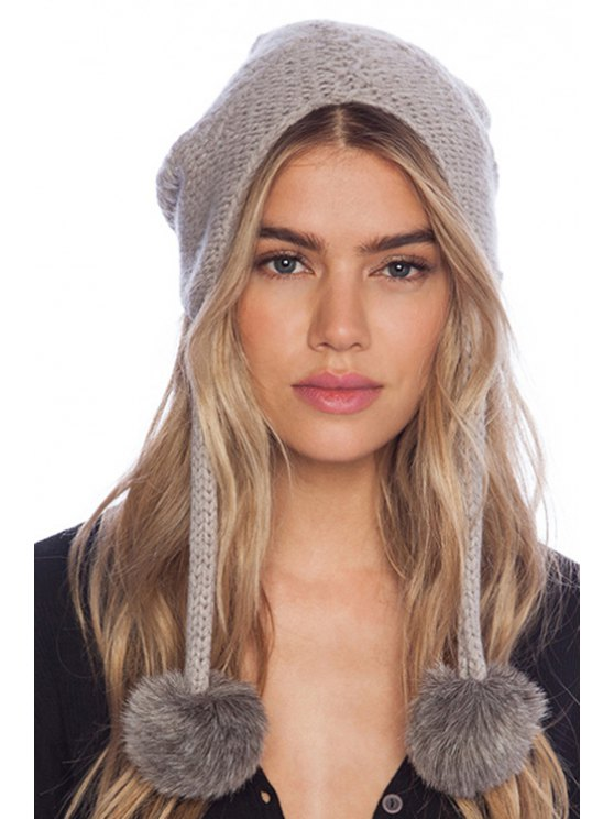 outfits Pompons Solid Color Knitted Hat - AS THE PICTURE S