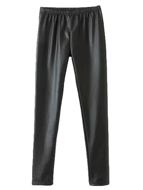 lady Black PU Leather Narrow Feet Pants - BLACK M