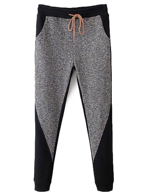 shop Color Block Narrow Feet Drawstring Pants - GRAY S