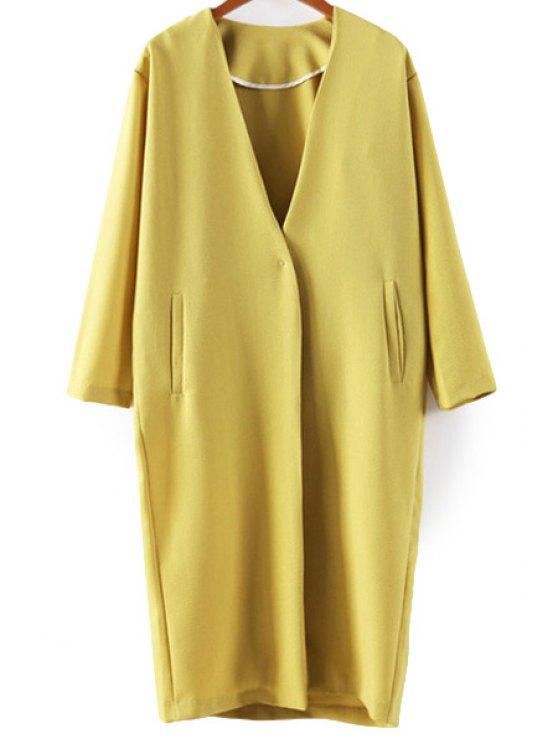 trendy Solid Color Nine-Minute Sleeve Coat - YELLOW S
