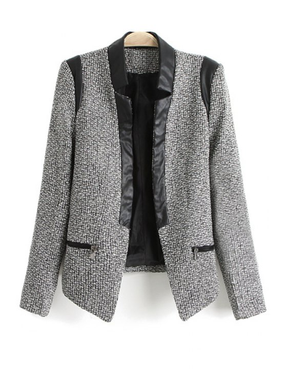 affordable PU Leather Splicing Long Sleeve Blazer - WHITE AND BLACK S