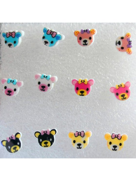 fancy A Set of Women's Charming Candy Color Bear Shape Earrings - COLORFUL