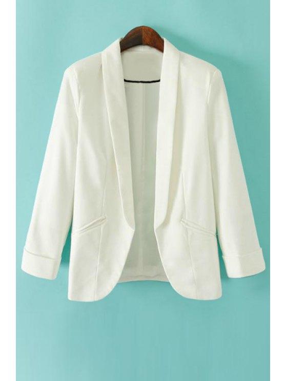 women's Turn-Down Collar Solid Color Blazer - WHITE S