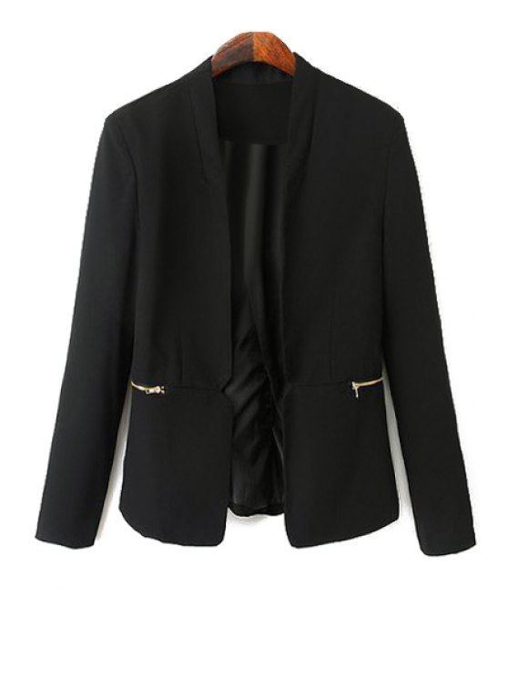 affordable Black Long Sleeve Zipper Blazer - BLACK S