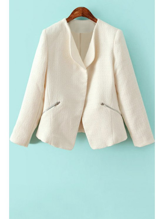 sale Solid Color Zipper Long Sleeve Blazer - WHITE S