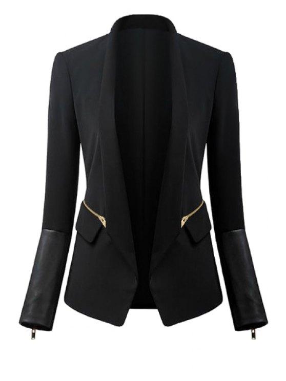 women Black Turn-Down Collar Zipper Blazer - BLACK L