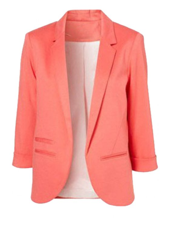 women 3/4 Sleeve Solid Color Blazer - PINK 34