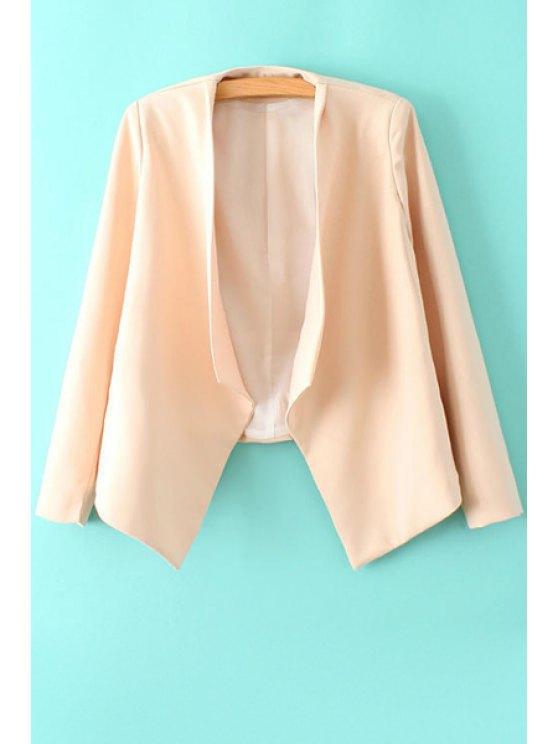 hot Solid Color Long Sleeve Irregular Blazer - PINK S