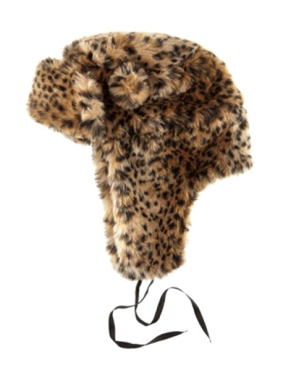 fashion Leopard Pattern Faux Fur Trapper Hat - AS THE PICTURE S