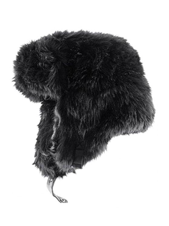 unique Solid Color Faux Fur Trapper Hat - BLACK S