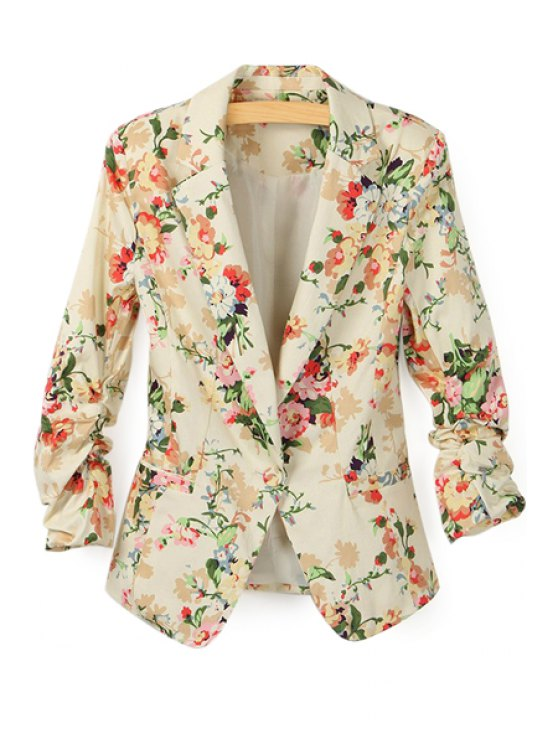 trendy Floral Print Lapel Neck Blazer - APRICOT S