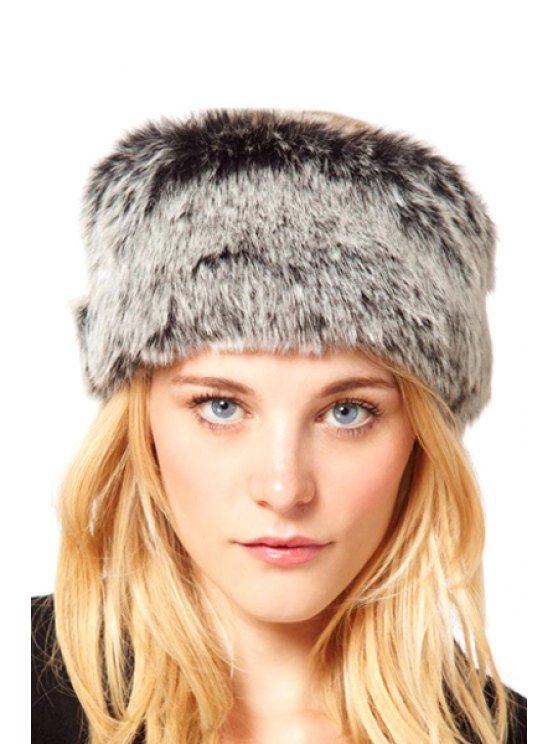 ladies Faux Fur Topless Hat - GRAY ONE SIZE(FIT SIZE XS TO M)