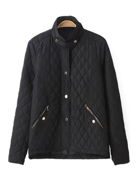 new Solid Color Stand Collar Jacket - BLACK S