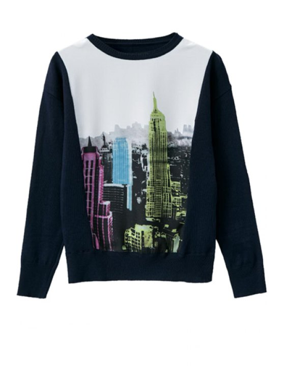 hot Building Print Long Sleeve Knitwear - AS THE PICTURE ONE SIZE(FIT SIZE XS TO M)
