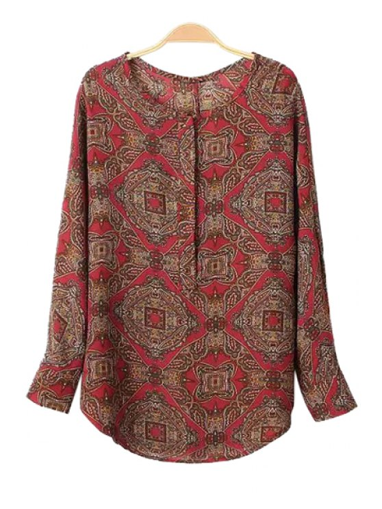 women's Retro Print Long Sleeve Blouse - COLORMIX S