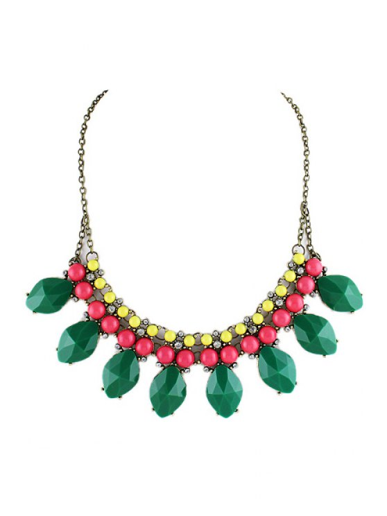 online Faux Gem Embellished Necklace - AS THE PICTURE