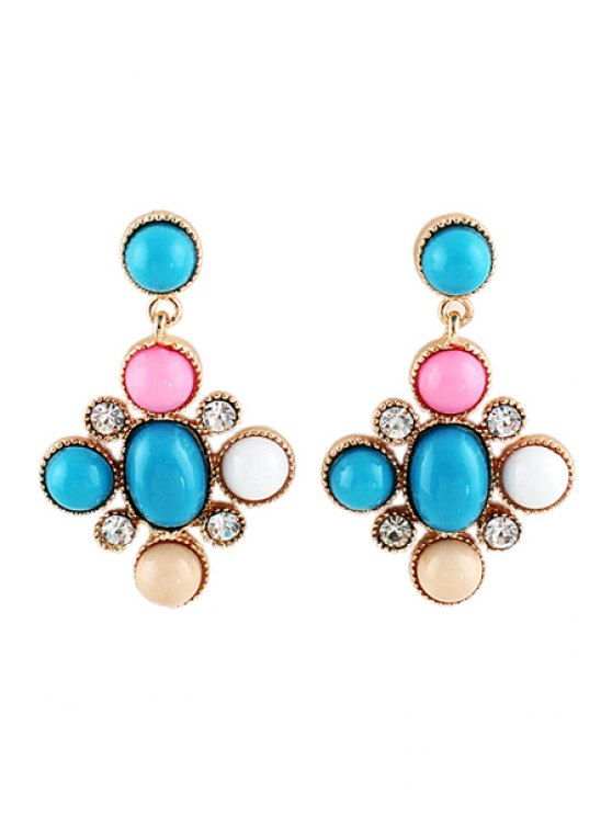 new Pair of Faux Gem and Rhinestone Earring - COLORMIX