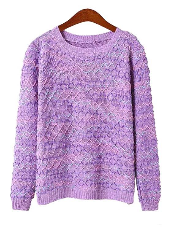 latest Argyle Knit Pattern Sweater - PURPLE ONE SIZE(FIT SIZE XS TO M)