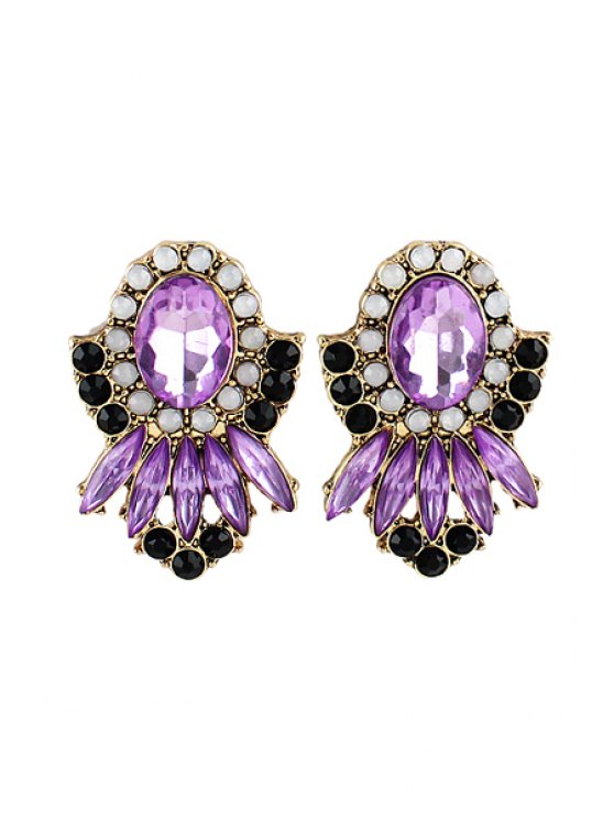 outfits Pair of Faux Gem Flower Earring - COLORMIX