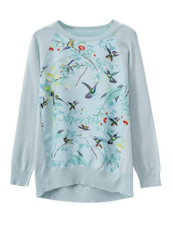 trendy Print Splicing Long Sleeve Knitwear - LIGHT BLUE S