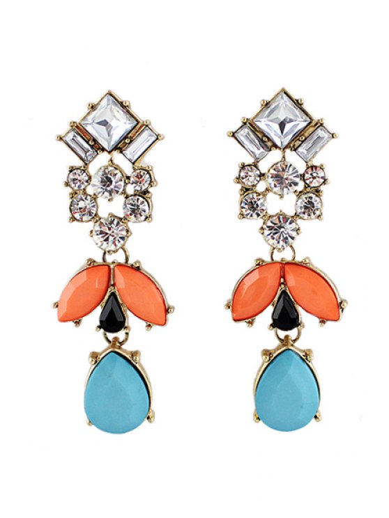 shop Pair of Faux Gem Pendant Earring - AS THE PICTURE