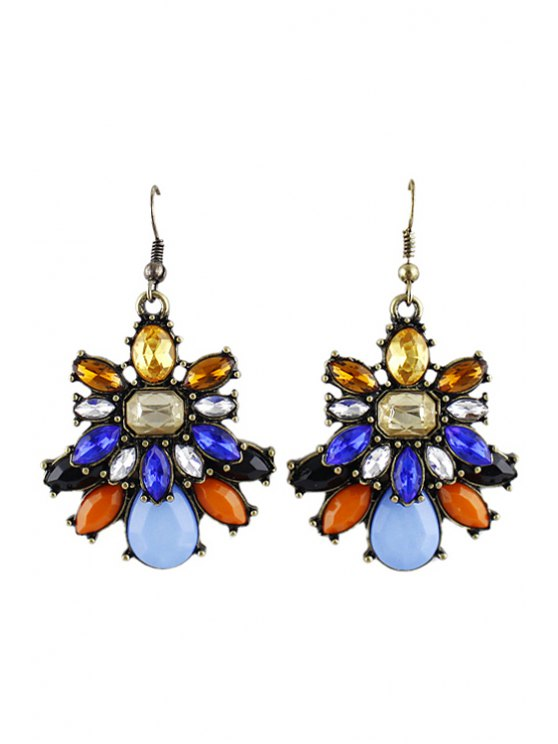 shops Pair of Faux Gemstone Pendant Earring - AS THE PICTURE