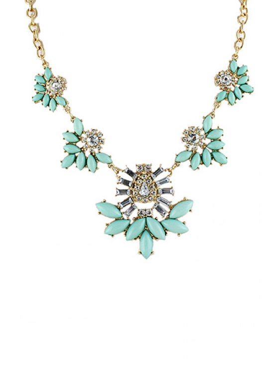 outfit Faux Gemstone Flower Necklace - AS THE PICTURE