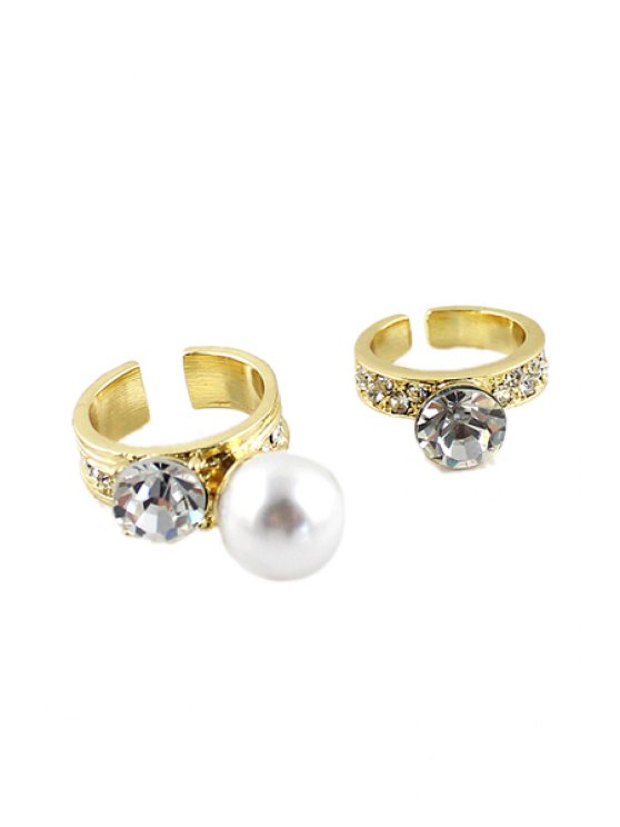 fashion 2PCS Rhinestone and Faux Pearl Cuff Rings - GOLDEN ONE-SIZE