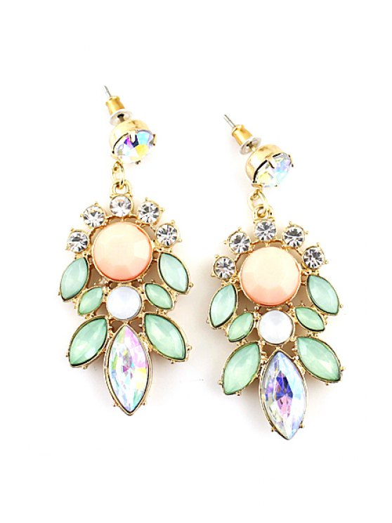 chic Pair of Faux Gemstone Flower Earring - AS THE PICTURE