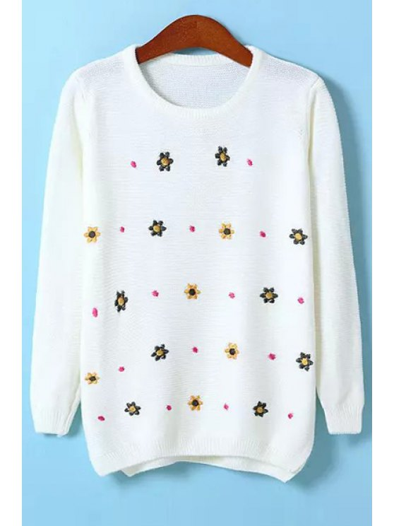 buy Flower Embroidery Jewel Neck Sweater - WHITE ONE SIZE(FIT SIZE XS TO M)