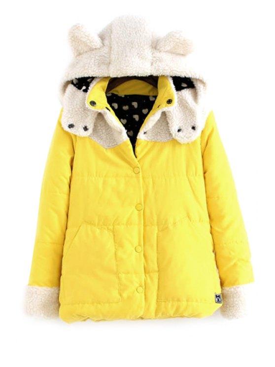 chic Hooded Lamb Wool Splicing Coat - YELLOW M