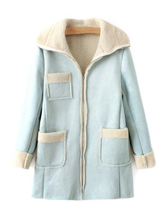 fancy Three Pocket Lamb Wool Splicing Coat - LIGHT BLUE ONE SIZE(FIT SIZE XS TO M)