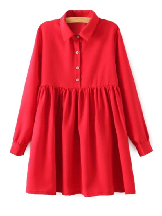 buy Red Long Sleeve Breasted Dress - RED S